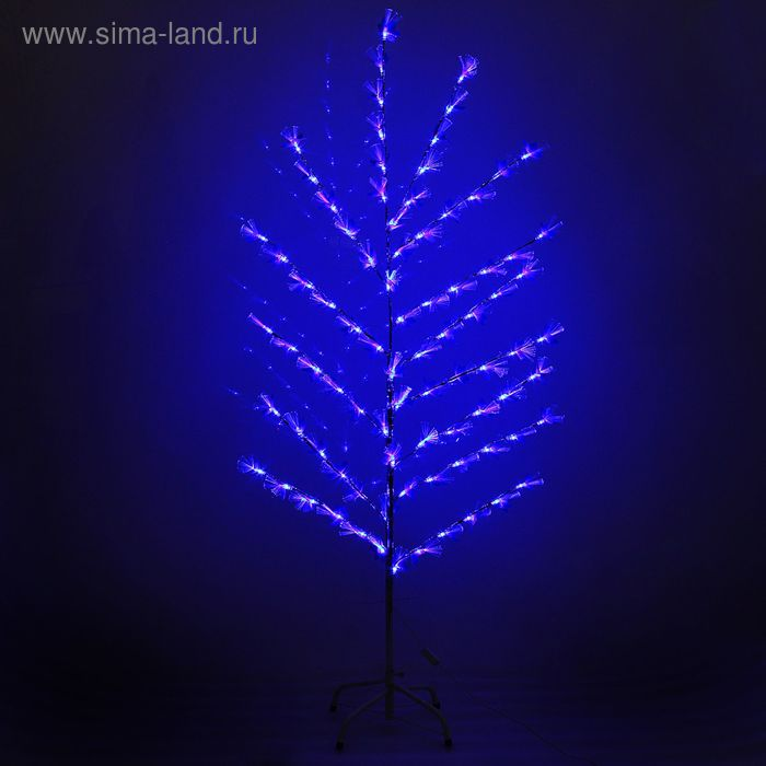 "Светодиодный куст улич. 1,5 м, ""Цветок павлин"", 84 LED, 220V, фиксинг, СИНИЙ"
