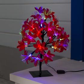 Светодиодный куст улич. 0,3 м, 'Лилия красная', 32 LED, 220V, моргает RG/RB Ош