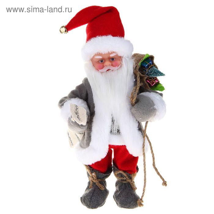 Дед Мороз, в сером полушубке, с мешком, русская мелодия