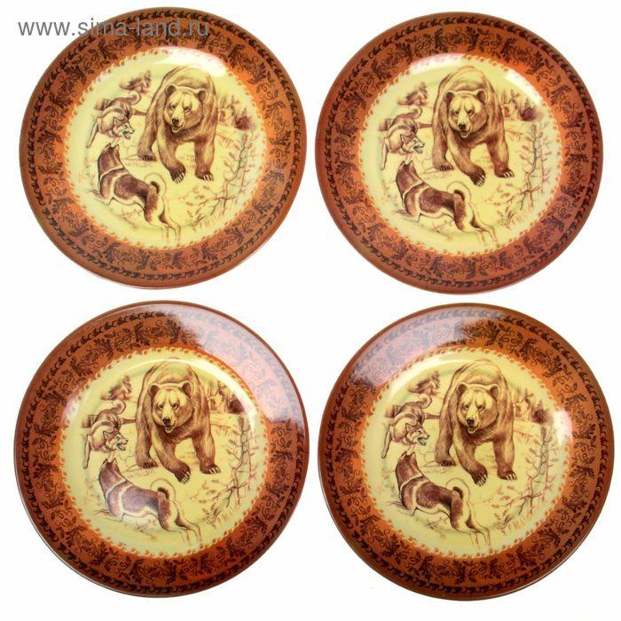 """Набор тарелок """"Медведь и собаки"""", 20 см, 4 шт"""
