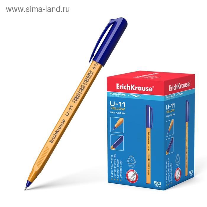 Ручка шариковая Erich Krause U-11 Yellow, стержень синий, узел 0.7мм, EK 37055