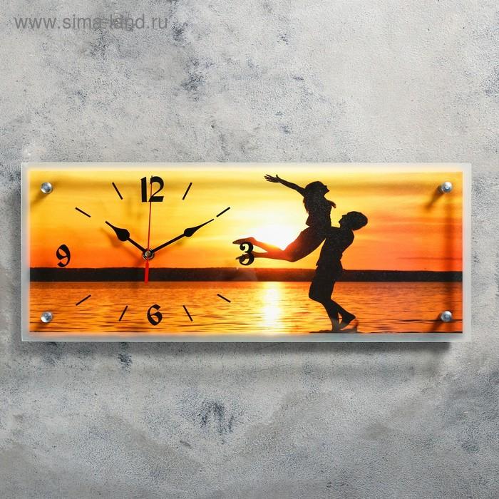 """Часы настенные прямоугольные """"Влюбленные на закате"""", 20х50 см"""