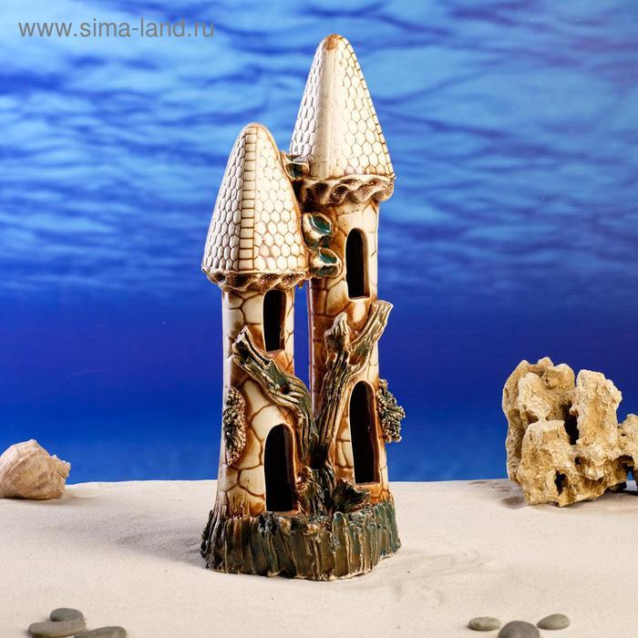 """Декорации для аквариума """"Замок острый двойной"""" микс"""