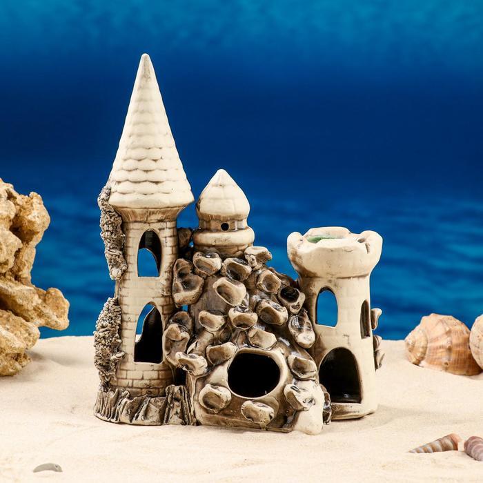 """Декорации для аквариума """"Замок средний с башней"""" микс"""