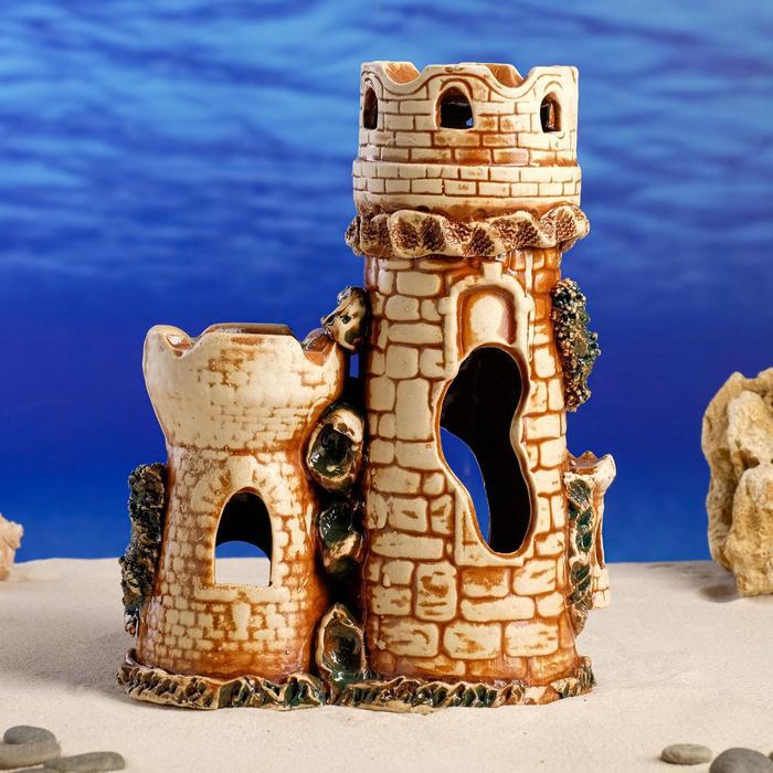 "Декорация для аквариума ""Две башни под водой"", 12 х 20 х 27 см"