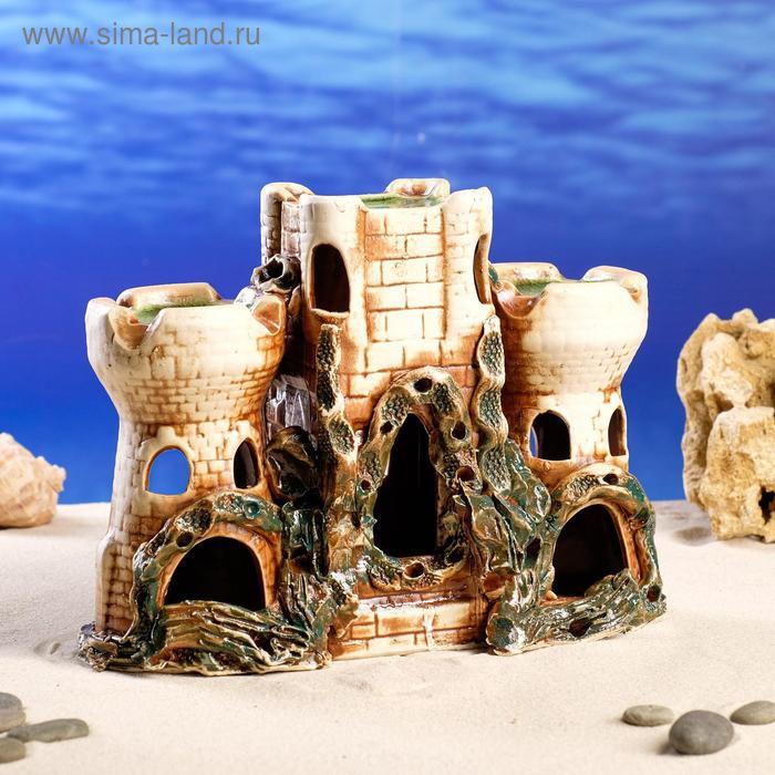 """Декорации для аквариума """"Крепость с двумя башнями"""""""