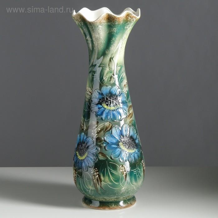 """Ваза напольная """"Вьюн"""" декор, зелёная, синие цветы"""