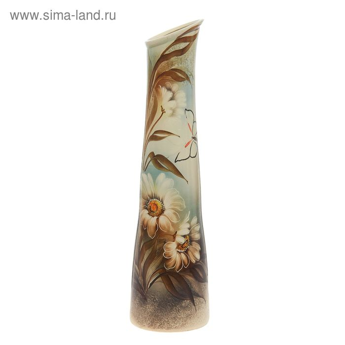 "Ваза напольная ""Стелла"" цветы, голубой"