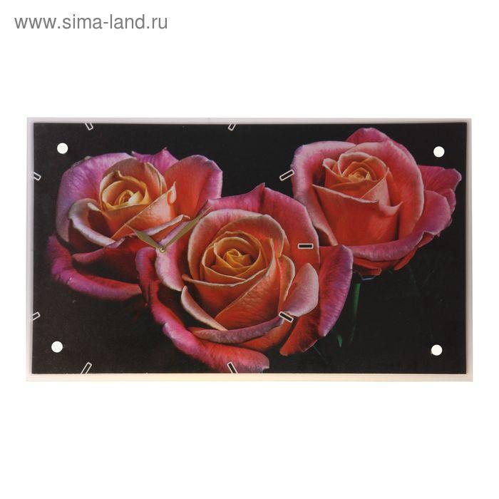 """Часы настенные прямоугольные """"Три розы на черном фоне"""", 35х60 см"""