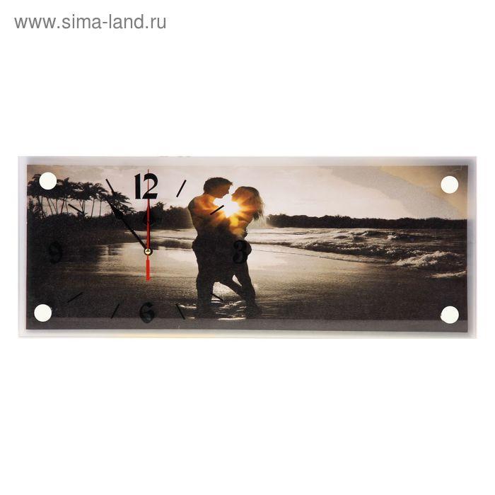 """Часы настенные прямоугольные """"Влюбленная пара на берегу"""", 20х50 см"""