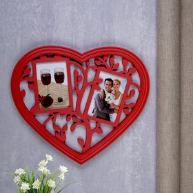 """Фоторамка на 2 фото 10х15 см """"Деревце в сердце"""" красная"""