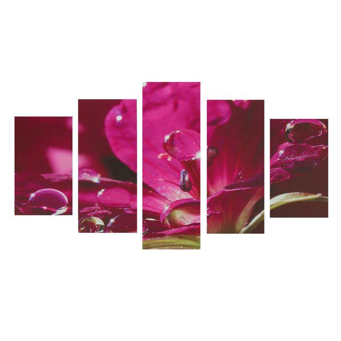 """Модульная картина на подрамнике """"Алый восторг"""", 2 — 43×25, 2 — 58×25, 1 — 72×25 см, 75×135 см"""
