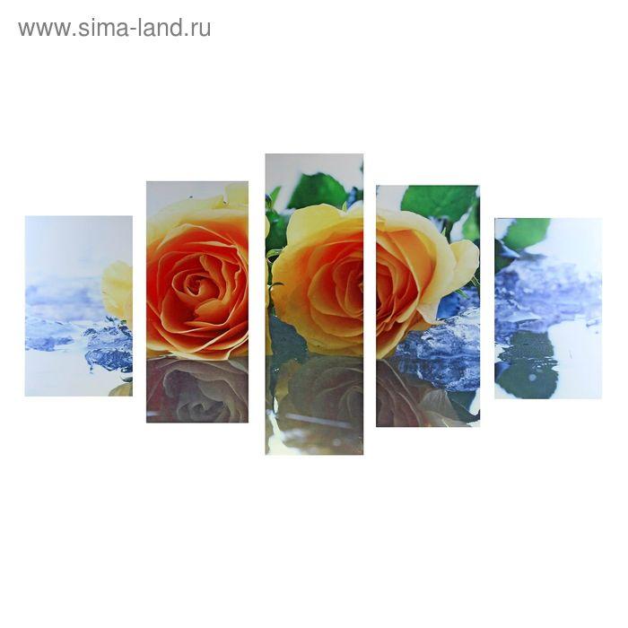 """Модульная картина на холсте с подрамником """"Розы и лёд"""""""