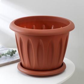 """Горшок для растений с поддоном 6,4 л, d=27 см """"Фелиция"""", цвет терракотовый"""