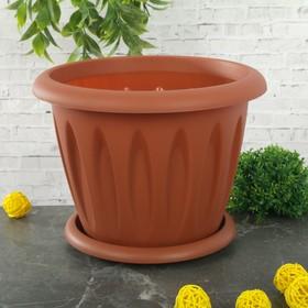 """Горшок для растений с поддоном 3,6 л, d=22,5 см """"Фелиция"""", цвет терракотовый"""