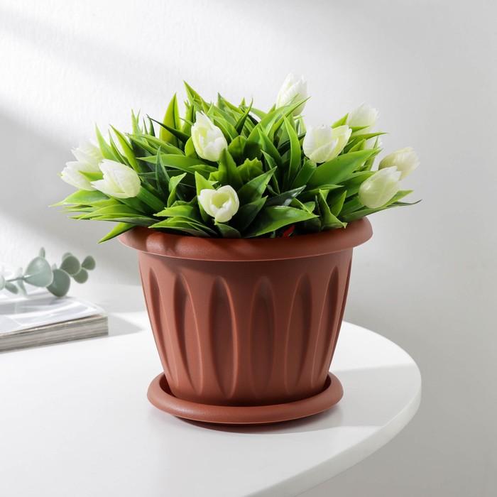 """Горшок для растений с поддоном 0,9 л, d=14 см """"Фелиция"""", цвет терракотовый"""