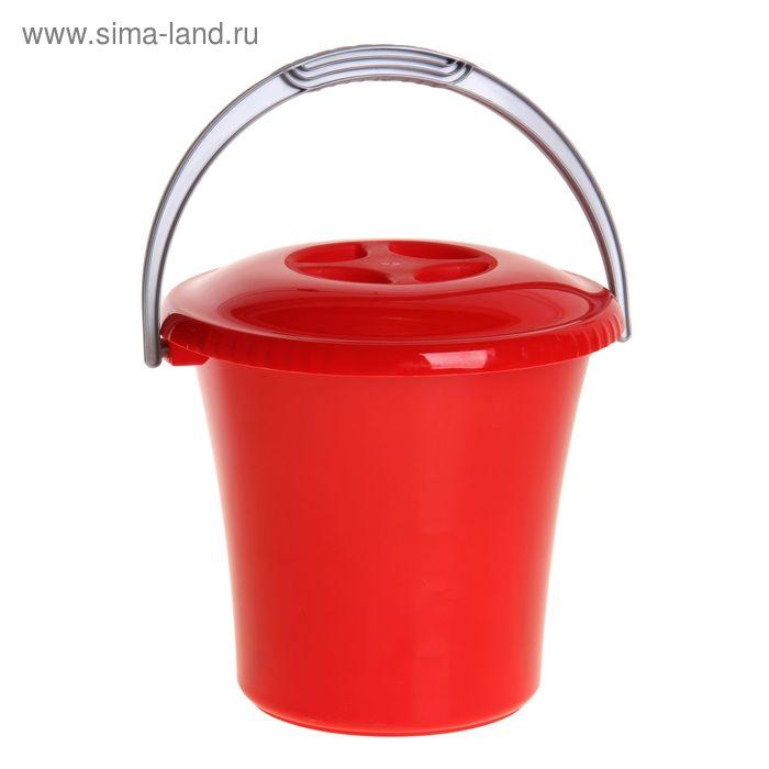 """Ведро """"Либерти"""" 7 л с крышкой, цвет красный"""