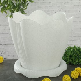 Горшок с поддоном «Эдельвейс», 5,3 л, цвет мраморный