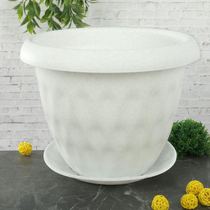"""Горшок для растений c поддоном 13 л d=34 см """"Розетта"""", цвет мрамор"""