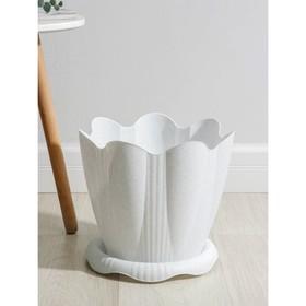 Горшок с поддоном «Эдельвейс», 9,5 л, цвет мрамор