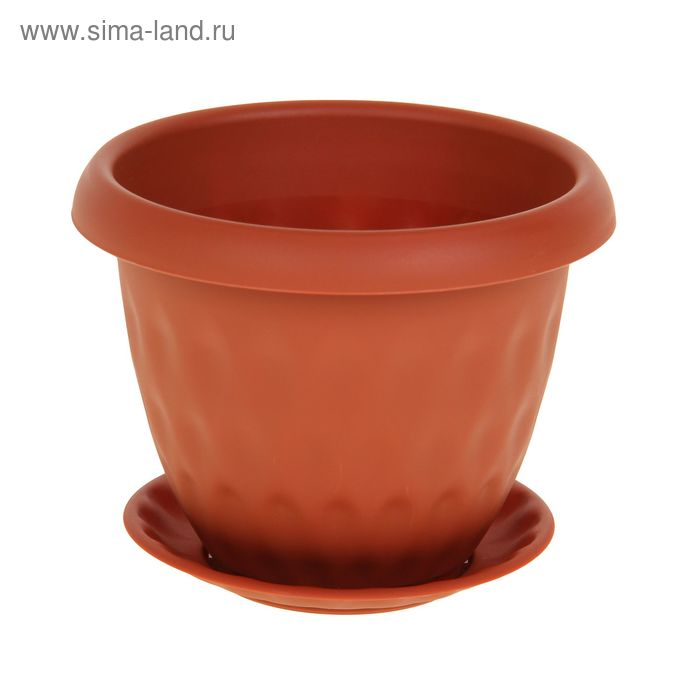 """Горшок для растений """"Розетта"""" 0,9 л d=14 см c поддоном, цвет терракотовый"""
