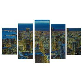 """Модульная картина на подрамнике """"Огни ночного города"""", 2 — 43×25, 2 — 58×25, 1 — 72×25 см, 75×135 см"""