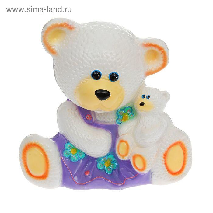 """Копилка """"Медведица с малышом"""" глянец, белая"""