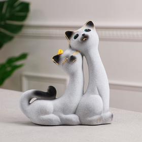 """Копилка """"Кошки Сладкая Пара"""", покрытие флок, серая, 21 см"""