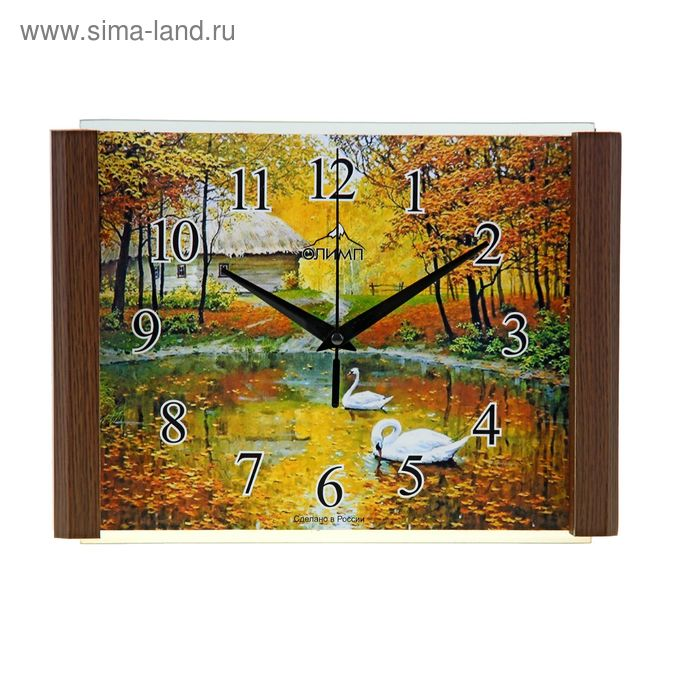 """Часы настенные прямоугольные """"Лебеди в пруду"""", 20х28 см"""