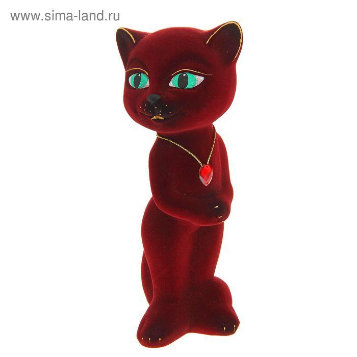 """Копилка """"Кошка Анжела"""" малая, флок, бордовая"""
