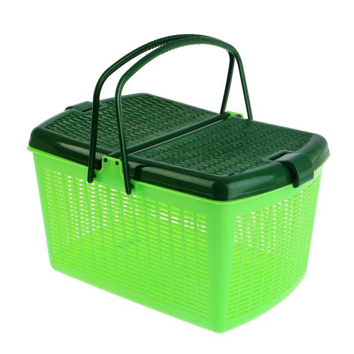 Переноска-корзина для кошек и собак, 47х36х27,5 см, зеленая