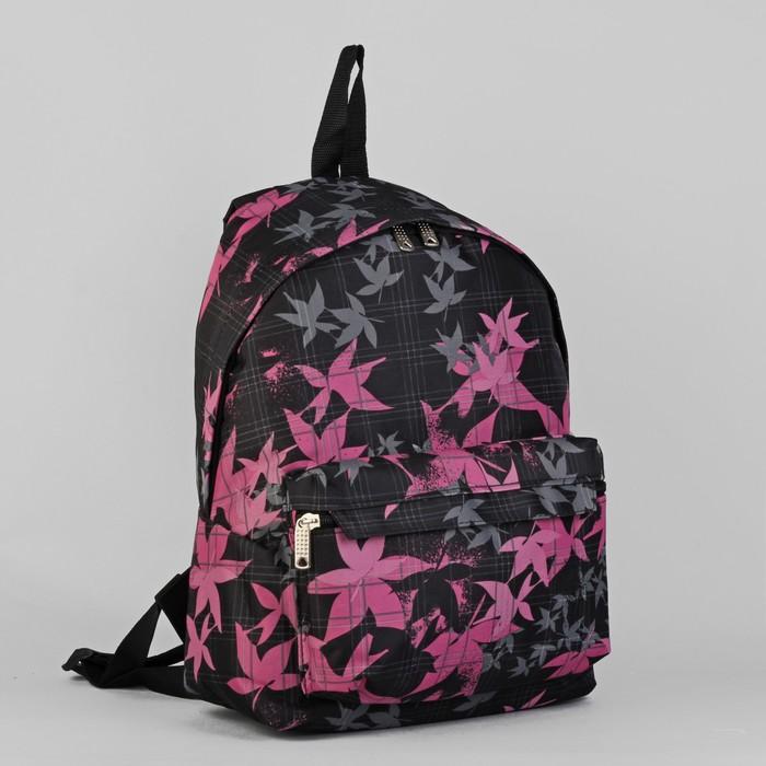 """Рюкзак молодёжный """"Лилии"""", 1 отдел, 1 наружный карман, чёрный/-розовый"""