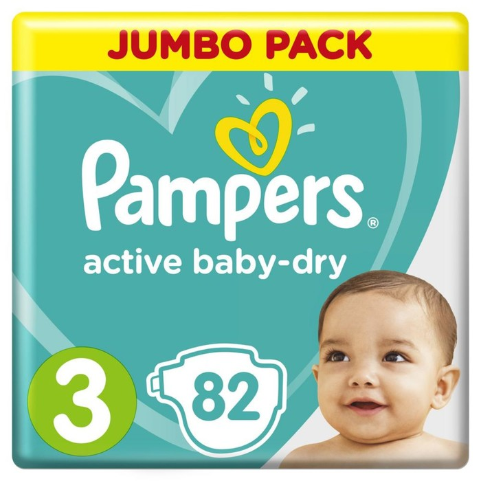 Подгузники «Pampers» Active Baby-dry, Midi, 6-10 кг, 82 шт/уп