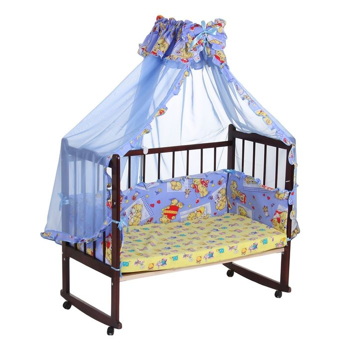 """Комплект в кроватку """"Медвежата"""" (2 предмета), цвет голубой с рюшей (арт. 1552)"""