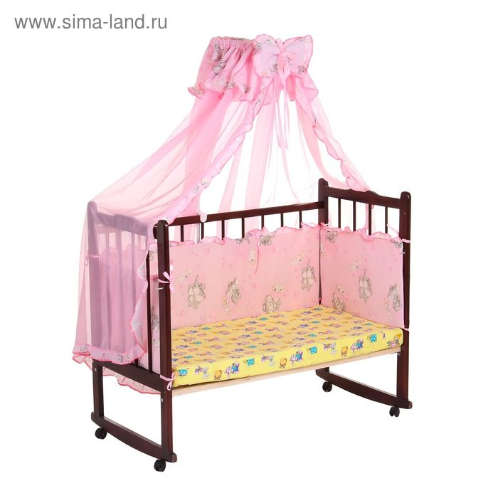 """Комплект в кроватку """"Слонята"""" (2 предмета), цвет розовый с рюшей (арт. 1532)"""