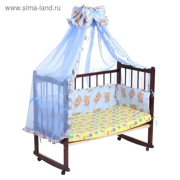 """Комплект в кроватку """"Спящий мишка"""" (2 предмета), цвет голубой с рюшей (арт. 1552)"""