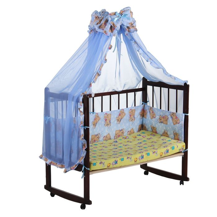 """Комплект в кроватку """"Спящий мишка"""" (2 предмета), цвет голубой (арт. 1542)"""