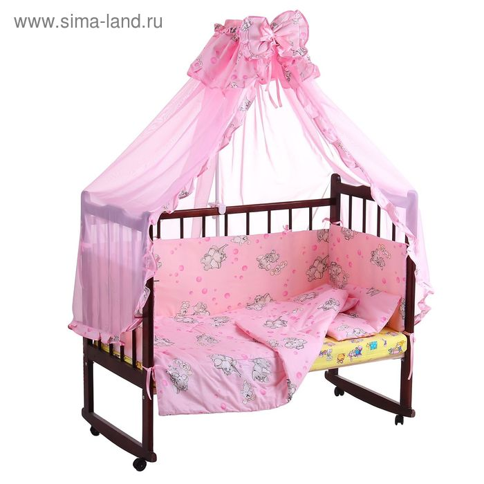 """Комплект в кроватку """"Слонята"""" (4 предмета), цвет розовый (арт. 1525)"""