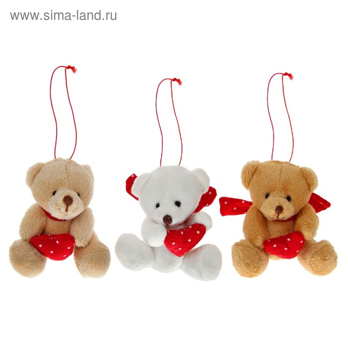 """Мягкая игрушка-подвеска """"Мишка"""", сердце в горошек, цвета МИКС"""