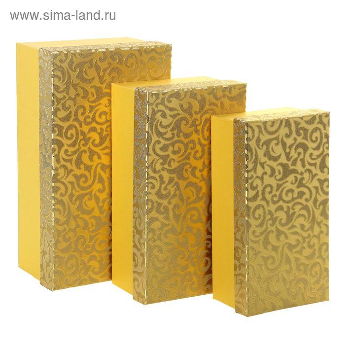 """Набор коробок 3в1 """"Благородный узор"""", цвет золотой"""