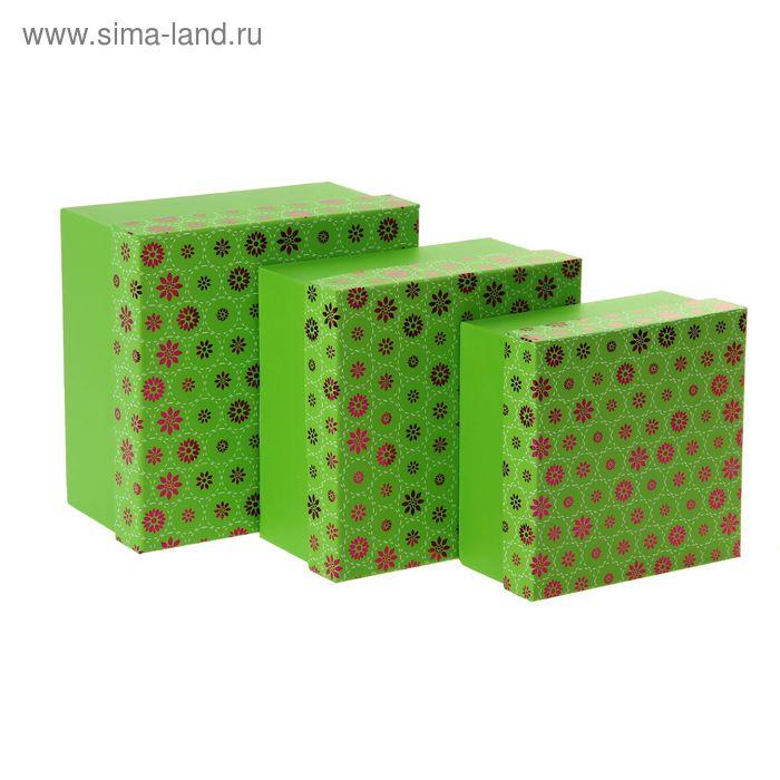 """Набор коробок 3в1 """"Летний день"""", цвет зеленый"""