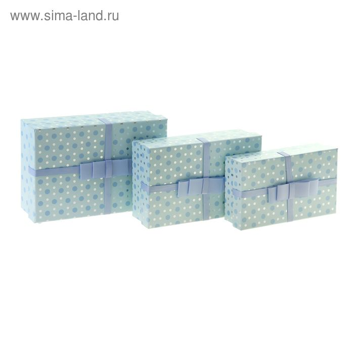 """Набор коробок 3в1 """"Капли росы"""", цвет голубой"""