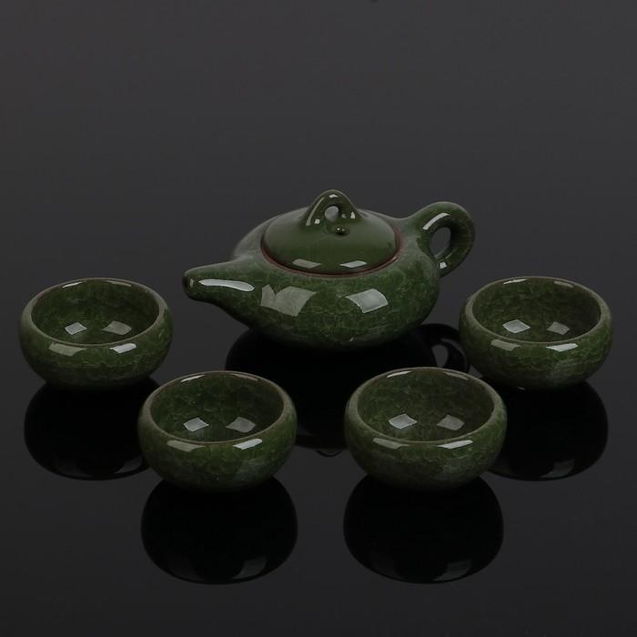 """Набор для чайной церемонии """"Искушение"""", 5 предметов: чайник 150 мл, чашка 50 мл, цвет зелёный"""
