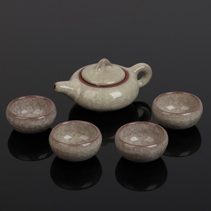 """Набор для чайной церемонии """"Искушение"""", 5 предметов: чайник 150 мл, чашка 50 мл, цвет желтый"""