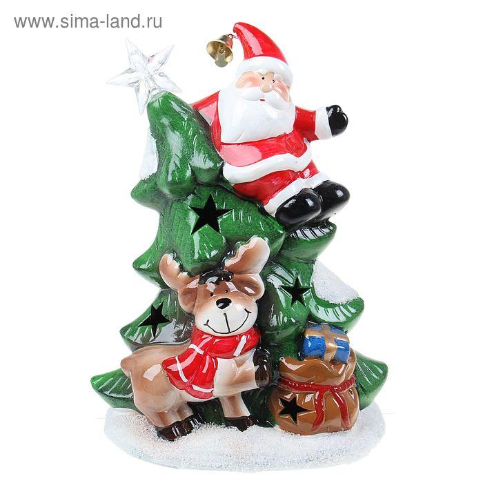 """Сувенир """"Дед Мороз на ёлке с звездой"""" световой"""