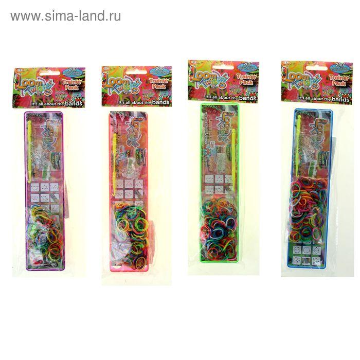 Резиночки для плетения LOOM TWISTER, набор 200 шт., станок, крючок, крепления, МИКС