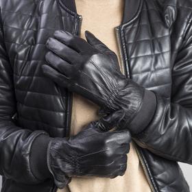 Перчатки мужские, подклад - флис, р-р 10, цвет чёрный