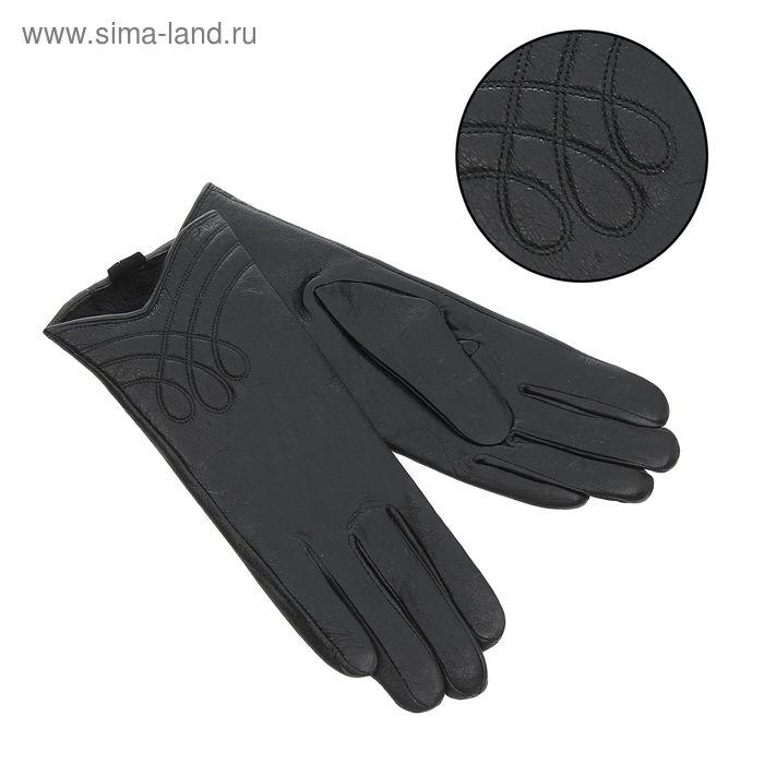 """Перчатки женские """"Кристина"""", подклад - флис, р-р 6,5, цвет чёрный"""