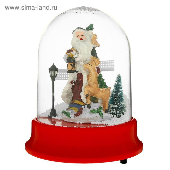 """Снежный шар механический """"Дед Мороз с оленем"""""""