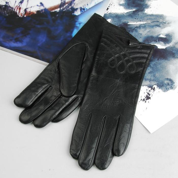 Перчатки женские, подклад - флис, р-р 7,5, цвет чёрный